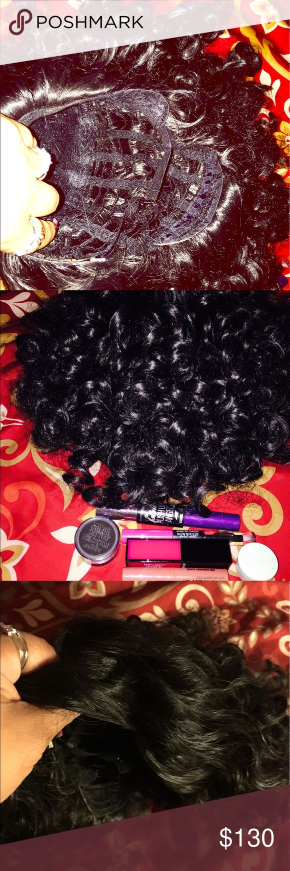 Full curly wig and makeup bundle Hello my beautiful ladies here you're looking at full curly virgin hair full short wig with makeup maybeline eye lash,Clinique shimmer,color tattoo pigment eye shadow,revlon color stay lipstick and gloss,and Milani power lip gloss NO DEALS OR TRADE!I ship in 24 hours I don't make my customers wait to receive their items HAPPY SHOPPING!! Accessories Hair Accessories
