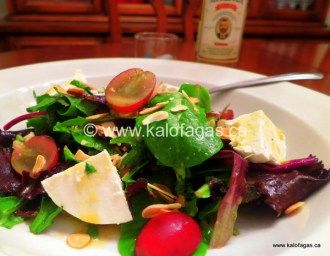 Arugula Salad With Manouri Cheese and Citrus Ouzo Dressing