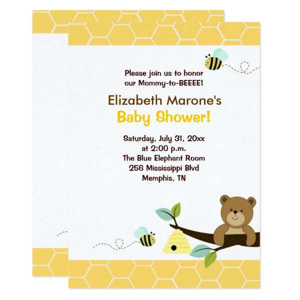 Bee Baby Shower Invitation 4x6