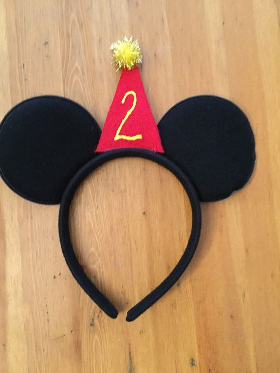 Mickey Mouse Inspired Headband with party hat and age, Mickey Mouse Props, Mickey Mouse Costume