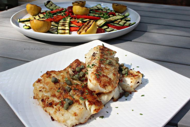 Pan-Seared Cod With Grilled Veggies #Cod