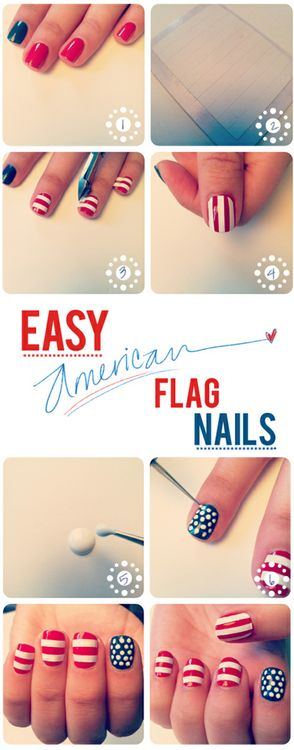I needed this last week! #cute #color #red #white #blue #america #flag #nails #polish #color #design #steps #guide #technique #beauty #girlie