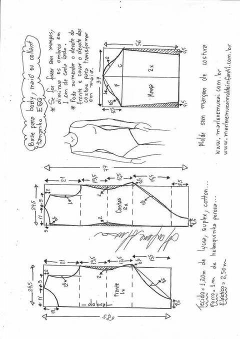 Patrón base para body o traje de baño | el tablero sin nombre ...