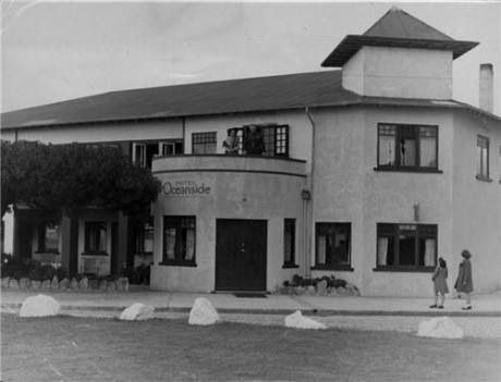 The original Oceanside Hotel along the waterfront at Mount Maunganui, New Zealand