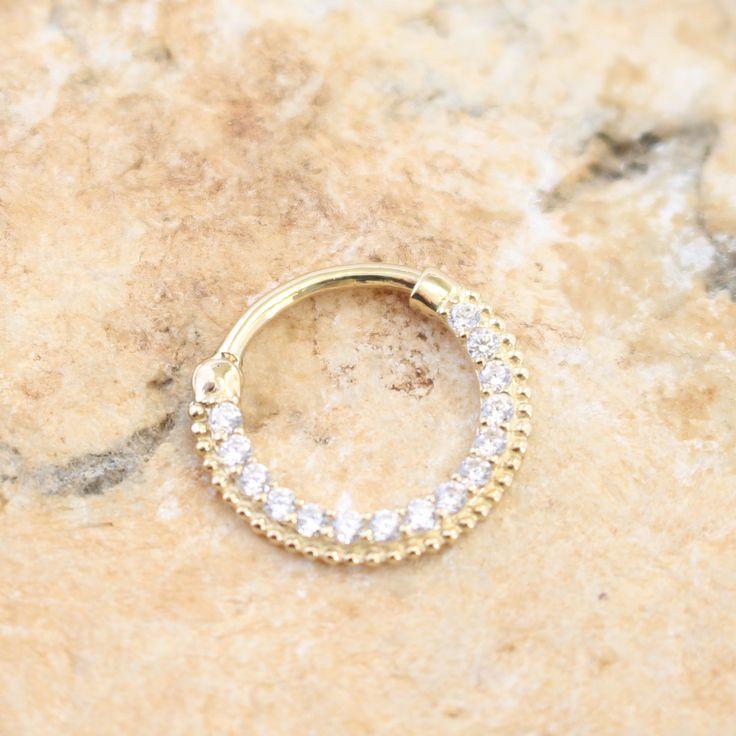 14k Yellow Gold CZ Septum Ring Daith Body Jewelry Body Jewelry Nose Piercing