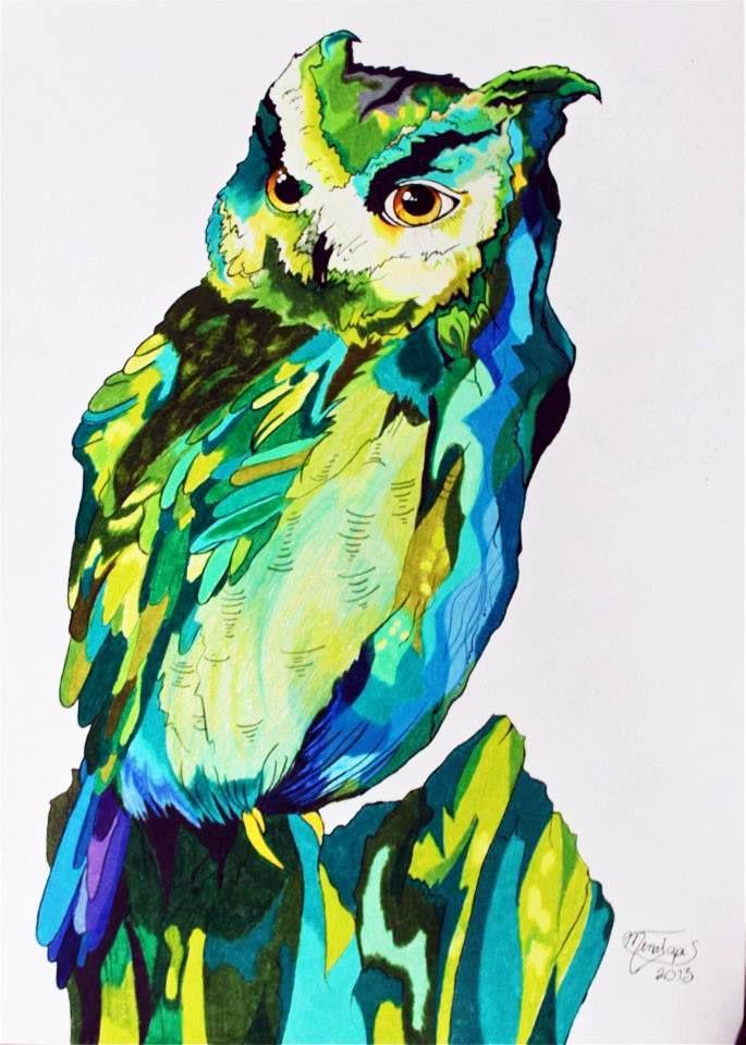 Cuadro prismacolor y estilografo por Elga Mena
