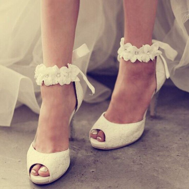 2016 Shoespie Ankle Appliqued Peep Toe Bridal Shoes