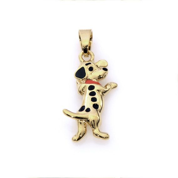 Gold Plated Dog with a Red Collar Pendant  Shiny Polished Finish Handmade by Jennifer Love