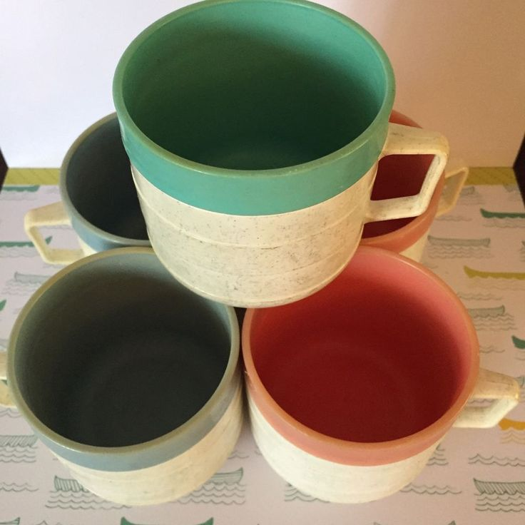 Vintage Midcentury Thermo Coffee Cup Set Insulated Retro Camping Melmac Cornish