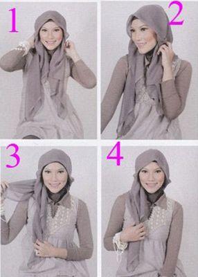 Cara memakai jilbab paris segi empat