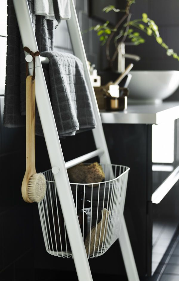 The SPRUTT towel holder makes spring cleaning easy! The baskets make it easy to see, store and organize in the bathroom and is a great space saver, too!