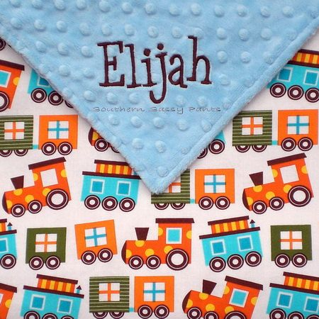 Personalized Baby Boy Blanket , Trains Organic Cotton and Minky Dot - Ready Set Go via Etsy