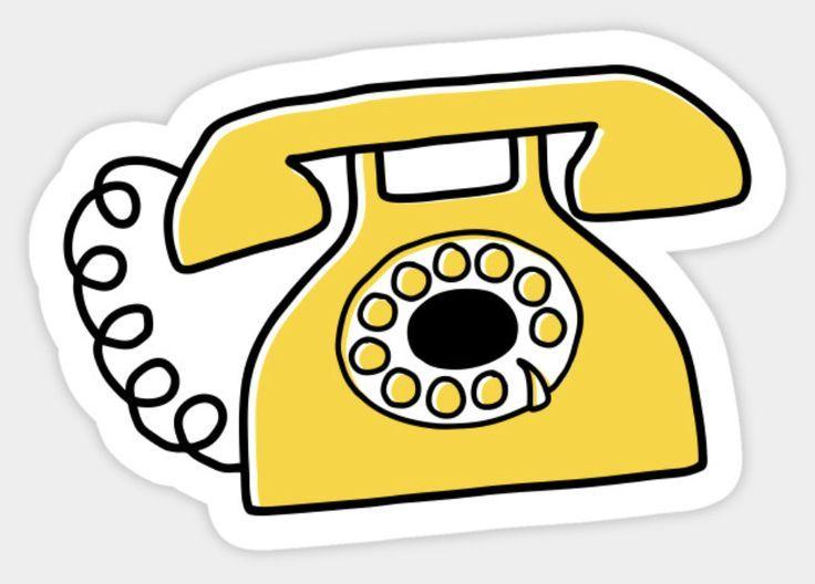 Retro telephone sticker.  Sticker featuring a yellow, retro telephone – #featuri…
