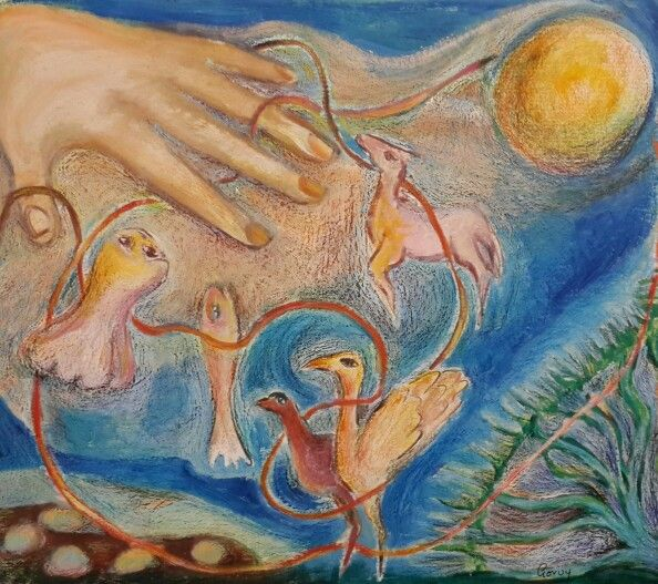 "Rhona Gorvy / oil pastel / ""The Singing Cord"""