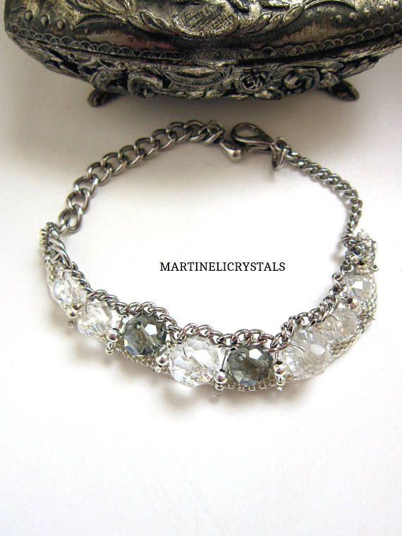 Crystal Bead Blacelet Swarovski Clear Wire Wrap Bracelet