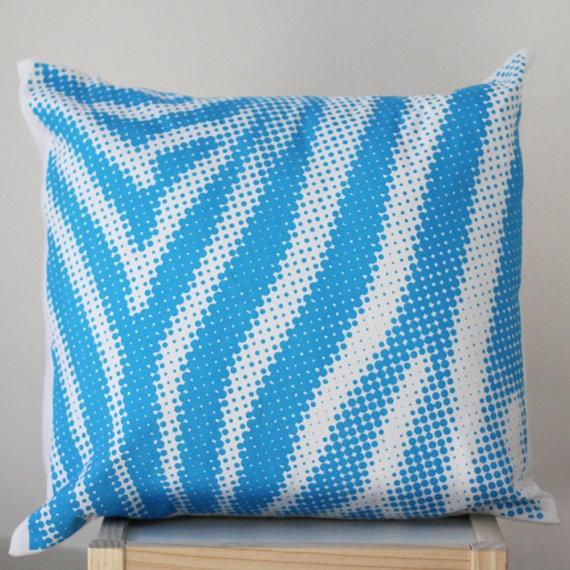 Blue Zebra Style Screenprinted Cushion Cover by raenne on Etsy, $20.00