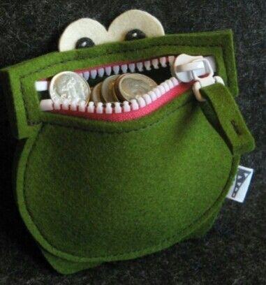 #Felt, #Fieltro Felt frog purse Monedero rana de fieltro