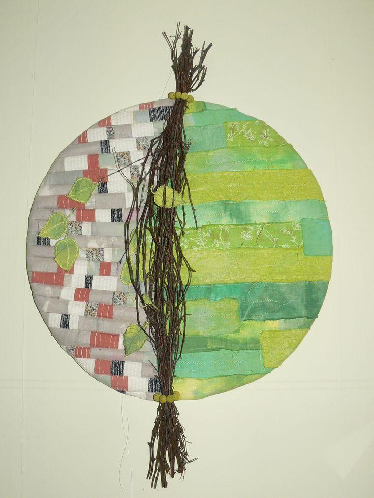 """""""Koivu"""" """"Birch"""" Art Quilt work, Dying linnen and free machinequilting."""