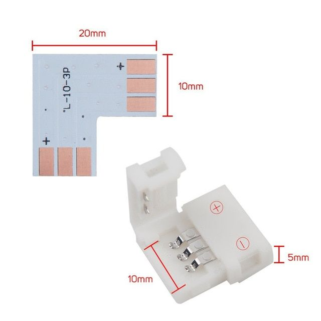 3pin 10mm Width Corner Connector Shape Solderless Connector For Ws2811 Ws2812b Led Strip Easy No Soldering Review Led Strip Light Accessories Led