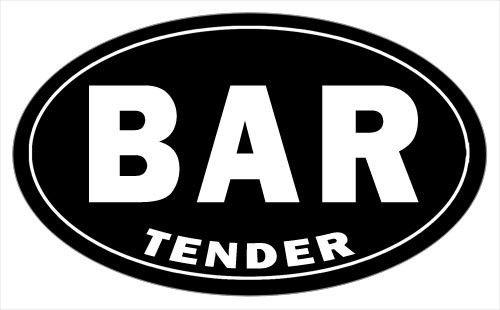 Black BAR Tender Bumper Sticker - 5 x 3 Oval