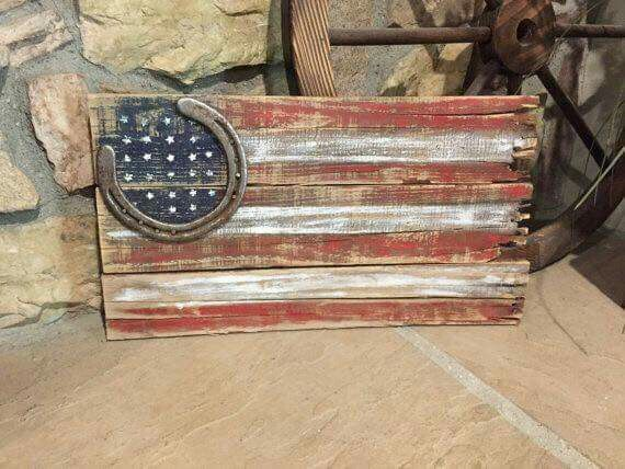 Barn wood antique flag W/ horseshoe