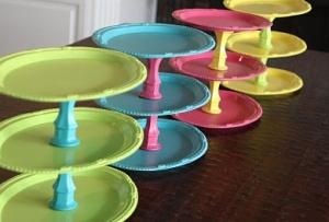 DIY Tiered platesIdeas, Cupcake Stands, Dollar Stores, Birthday Parties, Cupcakes Trays, Parties Trays, Diy, Party Trays, Cupcakes Stands
