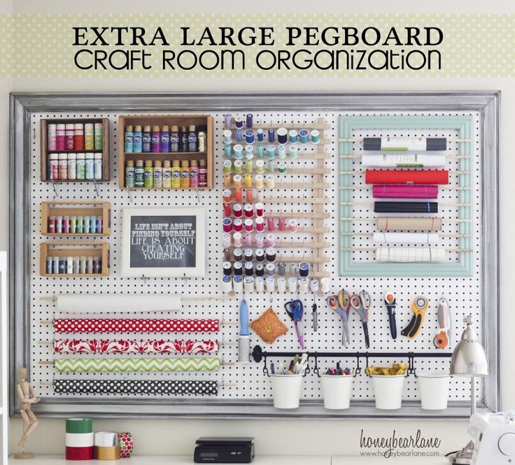 Get #Organized - Use a extra large pegboard for craft room organization. #craftroom #craftsupplies