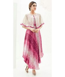 Winsome Pink And White Indo-Western Silk Kurti.