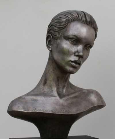 Resin Busts and Heads #sculpture by #sculptor David Cornell titled: 'Supermodel Kate Moss (Bronze Sculpture)' #art