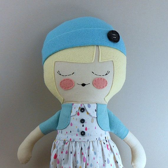 April, 18 cloth doll, rag doll, customizable, turquoise, yellow, raindrop print, cap, springtime