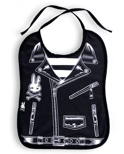 Six Bunnies ~ Punk Rock Leather Jacket Cool Baby Bib