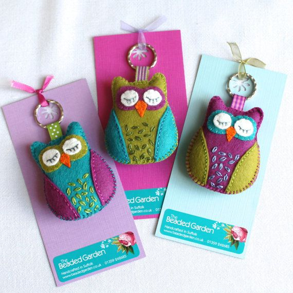 Sleepy owl keyring key chain  hand embroidered by BeadedGardenUK, £6.95
