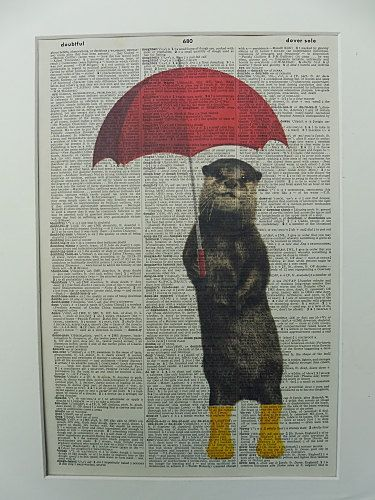 Otter with Umbrella Dictionary Wall Art Print by DecorisDesigns