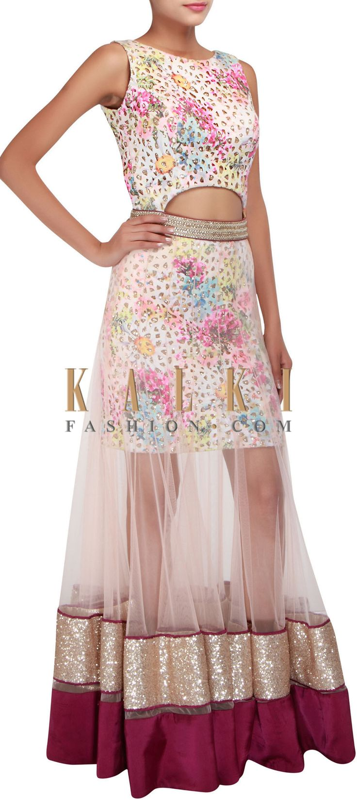Buy Online from the link below. We ship worldwide (Free Shipping over US$100) http://www.kalkifashion.com/multi-coloured-outfit-embellished-in-sequins-and-digital-print-only-on-kalki.html