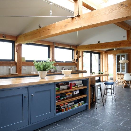 Farmhouse slate and wood kitchen | Traditional kitchen design ideas | Beautiful Kitchens | Housetohome.co.uk