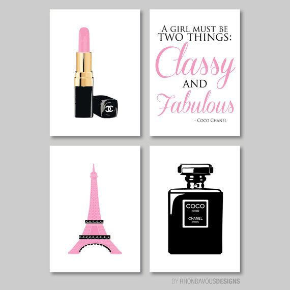 French Chanel Print Quad - Nursery. Kid. Child. Girl. Couture. Vogue. Wall Art. Black. Pink. - You Pick the Size (NS-213)