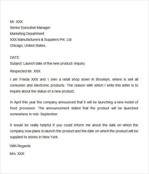 5 Inquiry Letter Templates Letter Templates Cover Letter