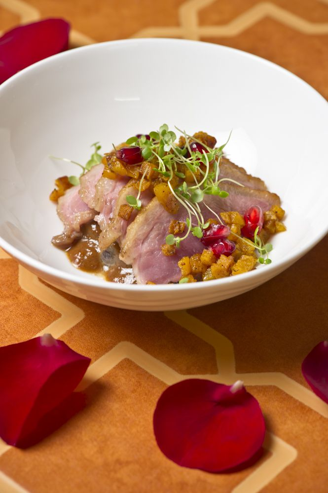 Spring Racing delights... Honey roasted duck breast - spiced pumpkin, eggplant, cress, walnut & pomegranate sauce #MelbourneCupCarnival2013 #food #canapes #glutenfree
