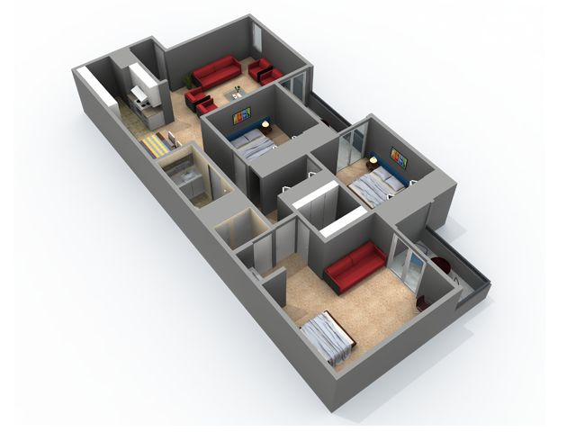 3 Bedroom, 3 Bath Floor Plan With 1176 Sq. Feet Of Living Space |