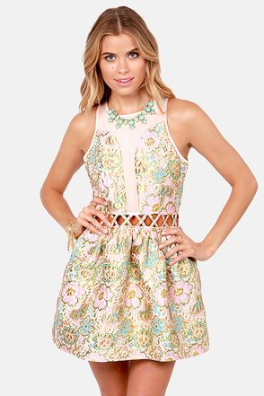 There Will Be Buds Pink Floral Brocade Dress