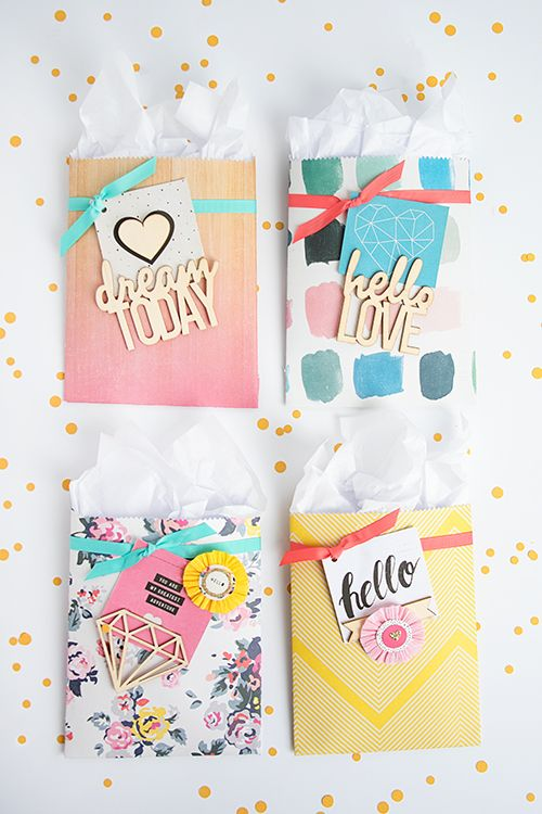 Create lovely little treat sacks with this one simple tool, the We R Memory Keepers Goodie Bag Guide, and scrapbook paper you already have on hand.