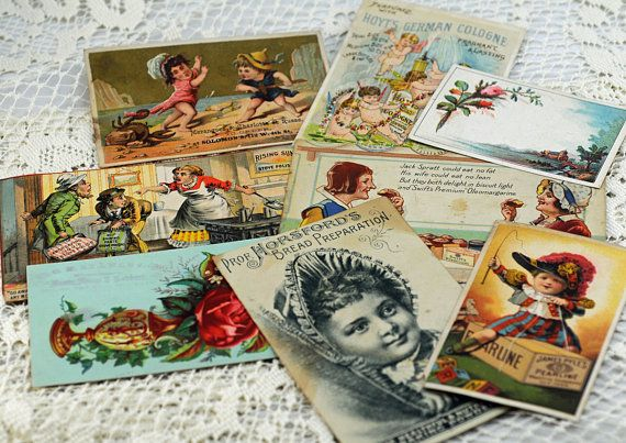 Lot of Eight Antique Post Cards and Trade Cards for Crafting, Scrapbooking, Cardmaking, And More #204A