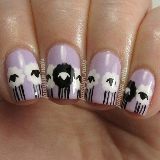 Black sheep mail polish art. So damn cute!
