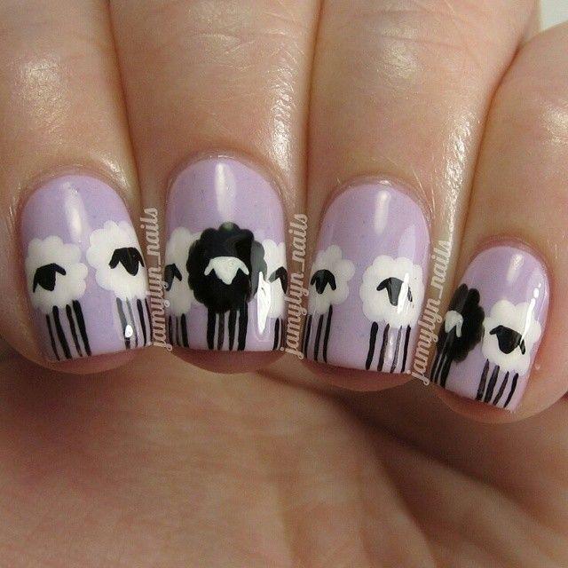 Black sheep mail polish art. So damn cute!