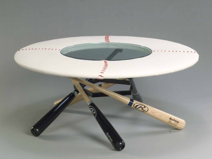 Baseball themed end table! Perfect for a Syracuse Chiefs themed basement!