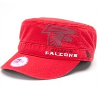 Ladies Atlanta Falcons Military Style Hat. The New Era Atlanta Falcons Ladies Goal-To-Go Military Adjustable Hat features a large printed team logo with an embroidered team name offset on the front and a team logo tag on the back strap. Rep your Falcons in style!