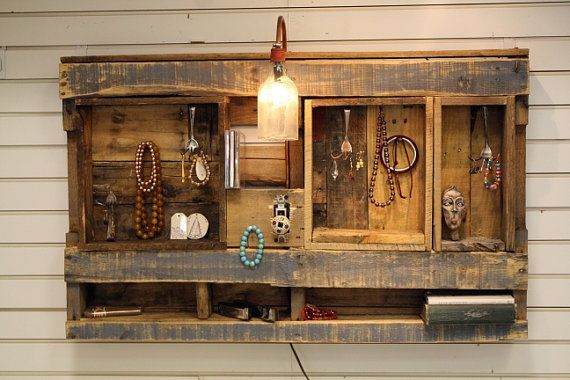 Wall Unit Display Organizer with electric light. Made from Upcycled Wooden Pallet.