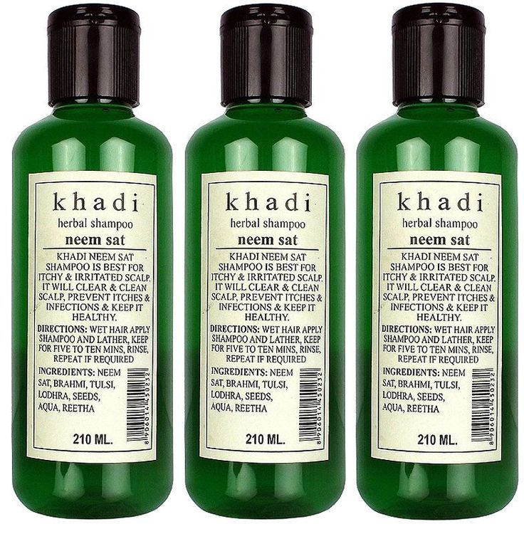 3 X Khadi Herbals Neem Sat Shampoo For Itchy Irritating Scalp 210Ml = Net.630 Ml