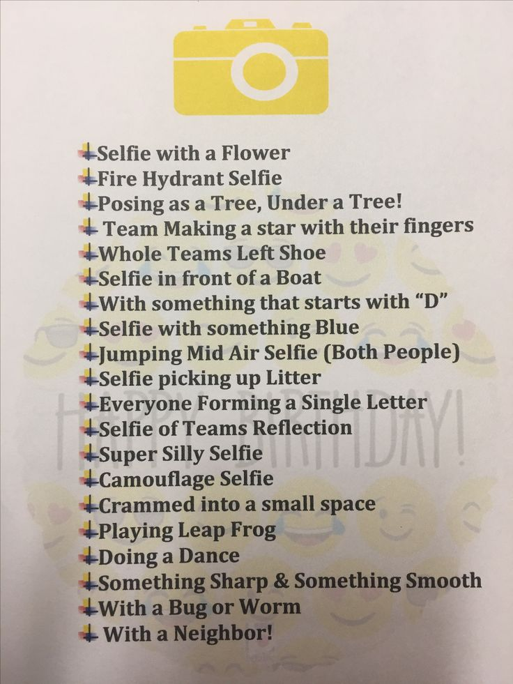 Selfie Scavenger Hunt for Emoji Party. Teams have 30 mins to complete as many as possible.