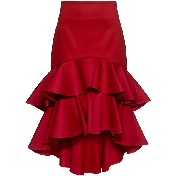 Alexis  - Kristyn High-Low Layered Ruffled Skirt (800 CAD) ❤ liked on Polyvore featuring skirts, red, red high low skirt, cotton knee length skirt, cotton skirts, knee length skirts and red knee length skirt